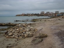 Pile of stones by the sea.
