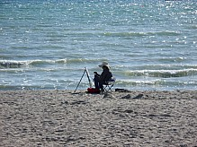Artist by the sea.