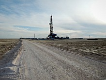 Drilling Rig in the steppe.