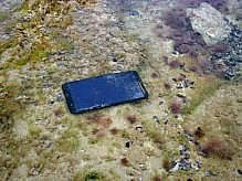 Smartphone under water.