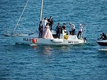 Wedding walk on a yacht.