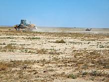 Bulldozer in the steppe.