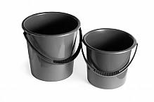 Plastic gray buckets.