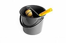 Paint roller in a bucket.
