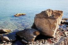Rocky coast of the Caspian Sea.