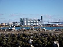 Grain terminal in the port.